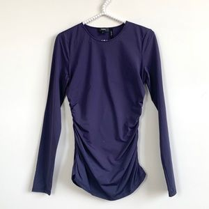 Theory Ruched Long Sleeve Shell Purple